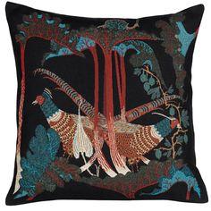 Pheasants and Rhubarbs cushion cover, cotton/linen, by Klaus Haapaniemi.