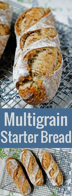 A detailed recipe for crusty, open-crumbed, flavorful multigrain bread made with a sourdough starter.