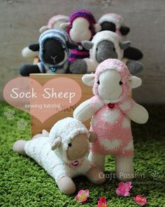 Sewing - free sheep toy pattern sewn from 2 socks. Found on CraftGossip. Tutorial by CraftPassion.