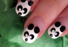 Panda Nail Art. AWE.  I have to get my Pretty Panda some nail art.