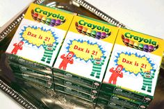 Yo Gabba Gabba crayons for the kids!  Buy boxes of crayons and make stickers in Adobe.
