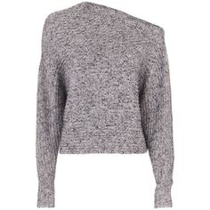T by Alexander Wang Women's Marled Asymmetric Chunky Pullover ($315) ❤ liked on Polyvore featuring tops, sweaters, grey, gray sweaters, grey cropped sweater, cotton pullover sweater, cotton sweaters and long sleeve sweater