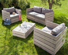 Salon de jardin en palettes en bois | Salons, Pallets and Banquettes