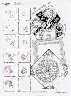 Shnek step out zentangle zenjoy Tangle Doodle, Tangle Art, Zen Doodle, Doodle Art, Zentangle Drawings, Doodles Zentangles, Doodle Drawings, Doodle Patterns, Zentangle Patterns