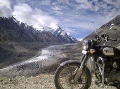 On a motorcycle ride in Himalaya a rare roadside view of 22km long Drang-Drung-Glacier