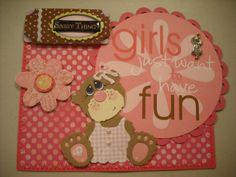 Premade Fun Sassy Bear Paper Piecing Mat Set 4 Scrapbook Album Card