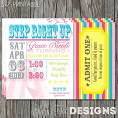 Carnival, Circus Birthday Party Invitation, Vintage Carnival Theme Party Invite, Pink and Turquoise - 5x7 PRINTABLE. $12.00, via Etsy.