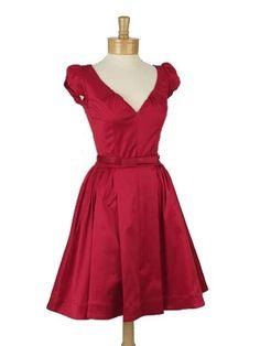 50s Style Red Sateen Sweetheart Neckline Party Dress-Blue Velvet Vintage