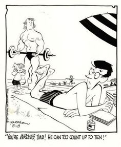 Hank Ketcham - Dennis the Menace Daily Comic Strip Original Art, 8-18-71 (Publisher-Hall Syndicate, 1978). Even relaxing at the beach, Dennis' dad can't stay out of trouble!