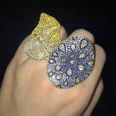 Evening-Ready Gems: #Yellowsapphire and diamond 'Drapes' ring with a colored diamond and #sapphire 'Mushroom' ring, both by #Palmiero. Available in our #London Jewellery sale #ChristiesJewels