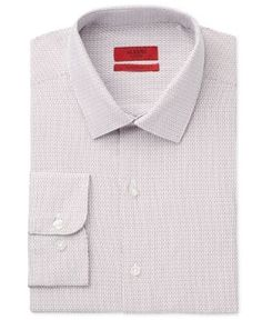 Alfani Red Men's Fitted Performance Big and Tall Burgundy Dobby Dress Shirt, Only at Macy's - Red 18 35/36