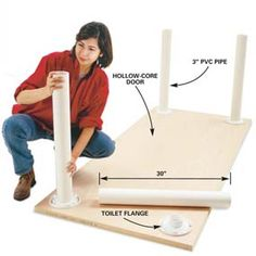 to Build Workbenches: 4 Knockdown Designs PVC Pipe Table Legs. You can mount these to any hard surface to make a table. You can mount these to any hard surface to make a table. Pvc Pipe Projects, Carpentry Projects, Diy Projects To Try, Wood Projects, Pvc Pipe Crafts, Do It Yourself Furniture, Do It Yourself Home, Diy Furniture, Pvc Pipe Furniture