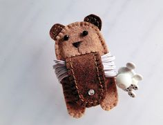 Dual Tone Brown Bear with Tail - Earphones Winder from Lily's Handmade - Desire 2 Handmade Gifts, Bags, Charms, Pouches, Cases, Purses by DaWanda.com