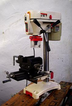 Jet drill press modified with cross-slide machine vice.