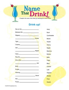 Name the Drink Bachelorette Party Game!