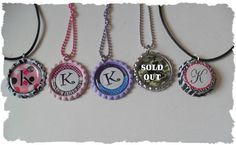 CLEARANCE Your Choice Of Initial K Bottlecap by sugarnspicebow