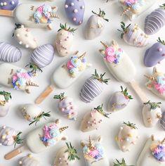 Chocolate-Covered Strawberries & Cake Pops by Shaun Teo Strawberry Cake Pops, Chocolate Dipped Strawberries, Chocolate Pops, White Chocolate, Chocolate Cake, Unicorn Birthday Parties, Unicorn Party, Unicorn Cakes, Birthday Cake