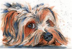 JOSIE+P+PRINT+of+Original+WATERCOLOUR+Yorkshire+Terrier+Dog+Painting+Yorkie+Mutt