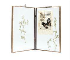 Complex bronze artwork Frame glass photo frame herbarium folder picture feather -sided display