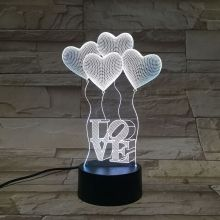 Romantic Atmosphere Heart Shape Balloons Capital Letter Visual Acrylic LED Children 3D Night Light Indoor Wall Decoration Lamps Seven Colors Automatic Change Home Decor Bedroom Living Room Christmas Decoration Gifts for Lover Valentine Birthday