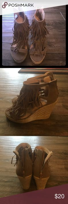 Women's wedge sandal with fringe Super cute wedge sandals! Worn once. To small for me. Shoes Wedges