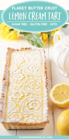 A creamy lemon tart that's low carb, gluten-free, and keto friendly. This is an easy low carb baking recipe that takes no time at all to pull together. Clocking in at carbs per slice it makes for a great low carb dessert option. A perfect low carb s Köstliche Desserts, Sugar Free Desserts, Lemon Desserts, Lemon Recipes, Tart Recipes, Gluten Free Desserts, Summer Desserts, Baking Recipes, Delicious Desserts