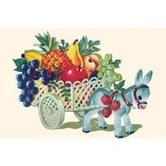 Buyenlarge 'Donkey Fruit Cart' Painting Print Size:
