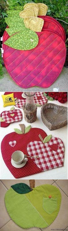 Декоративные салфеточки в виде яблочек под тарелки