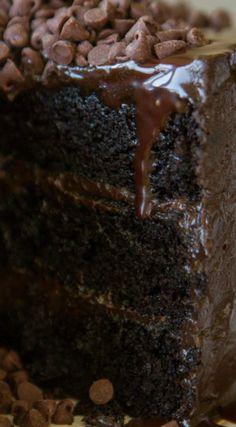 Chocolate Cake Extreme ~ Three layers of dark chocolate cake with dark…