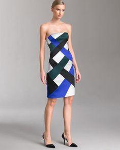 Georgio Armani Satin Jersey Patchwork Dress