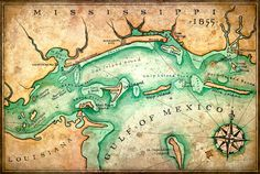 Mississippi Coast Map Art c. 1855 Hand Drawn by GeographicsArt