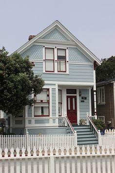 , Pacific Grove - Matthew X. Craftsman Bungalow House Plans, Craftsman Bungalows, House Paint Exterior, Exterior House Colors, Folk Victorian, Victorian House, Victorian Homes Exterior, American Houses, Cute House