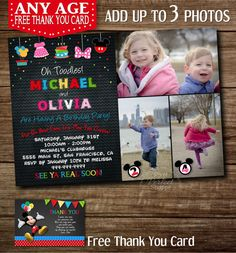 Items Similar To YOU CHOOSE Mickey Minnie Twins Birthday Invitation Siblings Clubhouse Invitations For Or