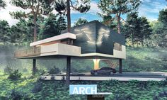 """If you want to impress everyone with your personality, then this house is just for you! Let us introduce you the project """"House on Three Pines"""". It is a modern house situated on tree trunks. It has only a single support in the form of a column.The basis …"""