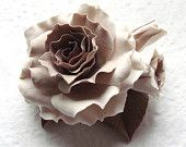 """RESERVED Polymer clay jewelry brooch. Cream - beige -  soft pink - brown peony brooch """"Vintage lace"""" .Clay flower brooch"""