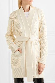 Sacai cotton blend cable cardigan