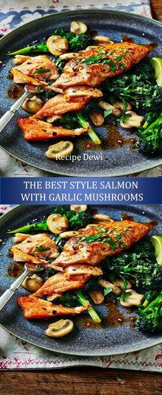★★★★★ 977 Reviews :  Recipe Dewi --->  style salmon with garlic mushrooms #style #salmon #with #garlic #mushrooms Best Healthy Dinner Recipes, Easy Salmon Recipes, Easy Healthy Dinners, Fish Recipes, Seafood Recipes, Vegan Recipes, Garlic Mushrooms, Stuffed Mushrooms, Seafood Dinner