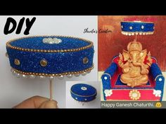 How To Make Easy Umbrella For Ganesh Chaturthi Jute Crafts, Handmade Crafts, Indian Wedding Gifts, Janmashtami Decoration, Ganesh, Umbrella Decorations, Ganapati Decoration, Laddu Gopal, Wedding Gift Wrapping