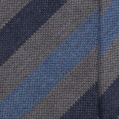 Handrolled Wool Stripe Tie - Blue/Grey
