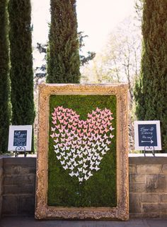 Escort Card Display -- Ombre Heart -- See more on SMP: http://www.StyleMePretty.com/2014/03/18/beverly-hills-wedding-at-greystone-mansion/ Chelsea Nicole Photography