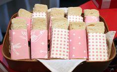 Wrap mini-sandwiches w/ gabba colors then add gabba sticker!!