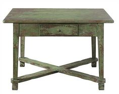 Wood and MDF Table, Distressed Green Finish. Available for purchase, now, through LG Interiors!