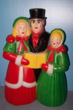 18in tall. Never have enough decorations using Carollers!Great vintage Christmas Blow Mold Dickens Family Carolers Light Empire Carolina
