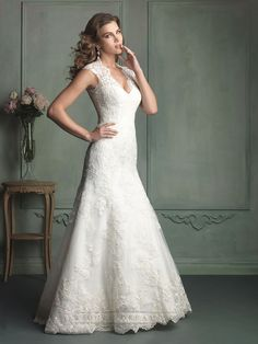 Cap Sleeve Plunging Neckline Mermaid Wedding Dress with Paneled Back | Wedding Dresses 2014