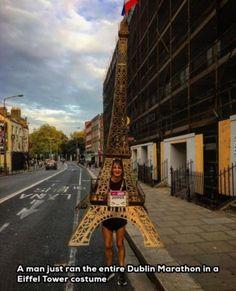 A man just ran the entire Dublin Marathon in a Eiffel Tower costume
