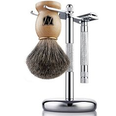 Miusco Men's Shaving Set, Safety Razor, Badger Hair Shaving Brush, Shaving Stand, Chrome. Shaving brush is made with 100% pure badger hair which is soft and gentle to your skin but yet hard enough to generate rich lather