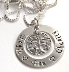 Family Tree Personalized Necklace, Sterling Silver, Hand Stamped Necklace, Mother's Necklace, Mommy Jewelry, Grandma Gift