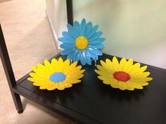 Daisy Flower Fused Glass Turquoise Blue and Sunflower Yellow