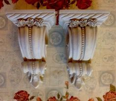 PAIR PRETTY  CURTAIN ROD SCONCES WITH ROSES  FRENCH~VINTAGE STYLE #Cottage