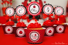 Cupcakes at a Ladybug Party #ladybugparty #cupcakes